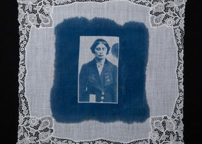 Margaret Scott, 2016, Cyanotype print on cotton handkerchief, 12 × 12 inches