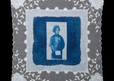 Evelyn Manesta, 2016, Cyanotype print on cotton handkerchief, 12 × 12 inches