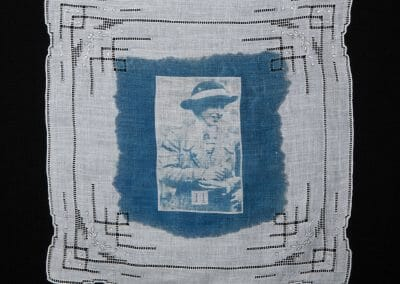 Mary Raleigh Richardson, 2016, Cyanotype print on cotton handkerchief, 12 × 12 inches