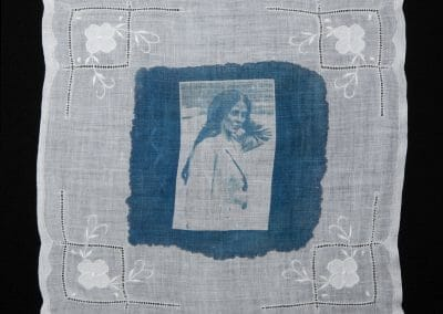 May Dennis, 2016, Cyanotype print on cotton handkerchief, 12 × 12 inches