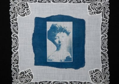 Kitty Marion, 2016, Cyanotype print on cotton handkerchief, 12 × 12 inches