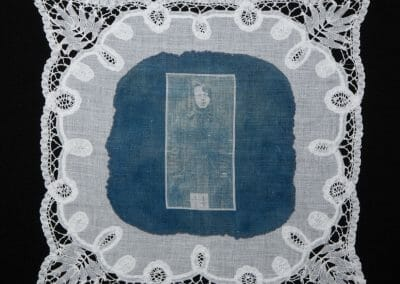 Lillian Forrester, 2016, Cyanotype print on cotton handkerchief, 12 × 12 inches