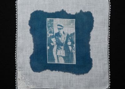 Miss Johansen, 2016, Cyanotype print on cotton handkerchief, 12 × 12 inches