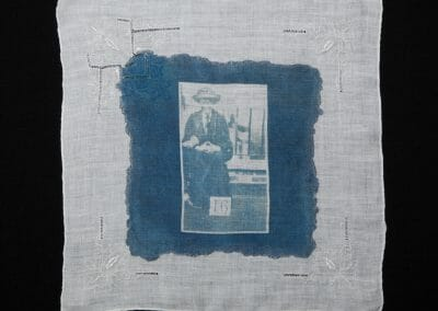 Clara Giveen, 2016, Cyanotype print on cotton handkerchief 12 × 12 inches