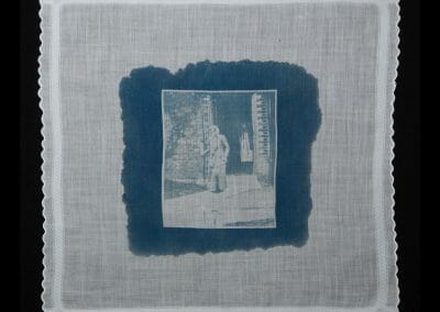 Jennie Baines, 2016, Cyanotype print on cotton handkerchief 12 × 12 inches