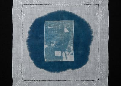 Miriam Pratt, 2016, Cyanotype print on cotton handkerchief 12 × 12 inches