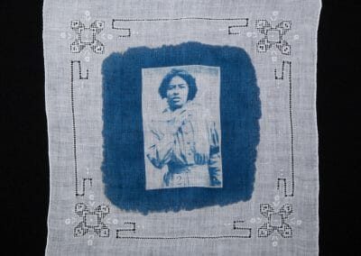 Olive Leared, 2016, Cyanotype print on cotton handkerchief 12 × 12 in (30.5 × 30.5 cm)