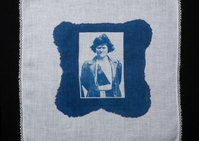 Margaret McFarlane, 2016, Cyanotype print on cotton handkerchief, 12 × 12 inches