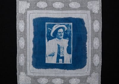 Mary Wyan, 2016, Cyanotype print on cotton handkerchief, 12 × 12 inches