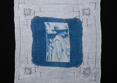 Annie Bell, 2016, Cyanotype print on cotton handkerchief, 12 × 12 inches