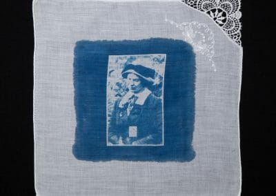 Jane Short, 2016, Cyanotype print on cotton handkerchief, 12 × 12 inches