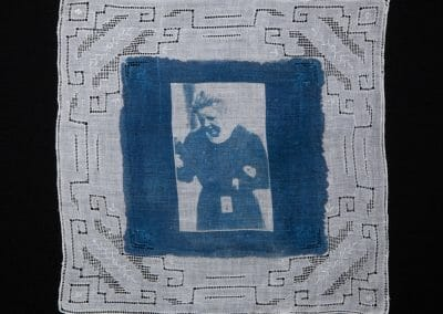 Gertrude Mary Ansell, 2016, Cyanotype print on cotton handkerchief, 12 × 12 inches