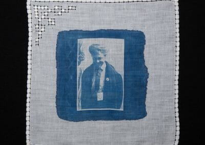 Maud Brindley, 2016, Cyanotype print on cotton handkerchief, 12 × 12 inches
