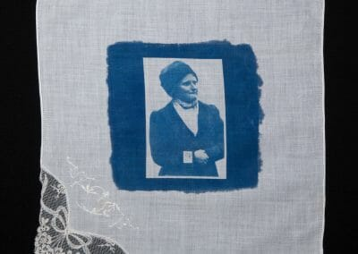 Verity Oates, 2016, Cyanotype print on cotton handkerchief, 12 × 12 inches