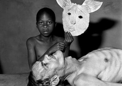 Roger Ballen, Tommy, Samson and a Mask (Outland), 2000, Gelatin silver print, 14 3/8 x 14 3/8 in, contact gallery for price