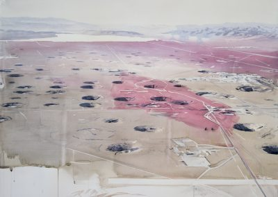 Eric LoPresti, Yucca Flat with Blood Red Brushstrokes, 2016, Framed watercolor on paper, 38 × 50 inches