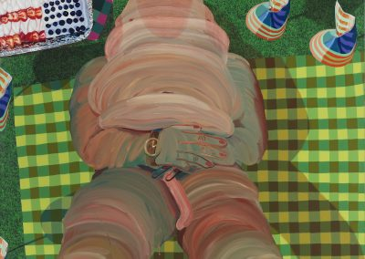 Celeste Rapone, Burnt Ham with Flag Cake, 2014, Oil on vinyl tablecloth, 62 × 46 inches