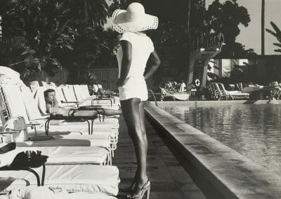 Anthony Friedkin, Woman by the Pool, Beverly Hills Hotel, 1975, Gelatin silver print, 13 1/2 × 19 3/4 in. (34.3 × 50.2 cm), contact gallery for price