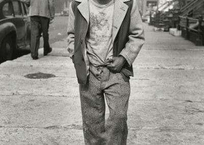 Marvin Newman, Chicago (Boy blowing bubble) c. 1949-52, Gelatin silver print, 10 1/4 × 8 1/4 in. (26 × 21 cm), Contact gallery for price