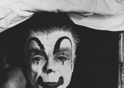 Bruce Davidson, Dwarf Clown, Palisades, NJ, c. 1958, Gelatin silver print, 9 × 6 in (22.9 × 15.2 cm), contact gallery for price
