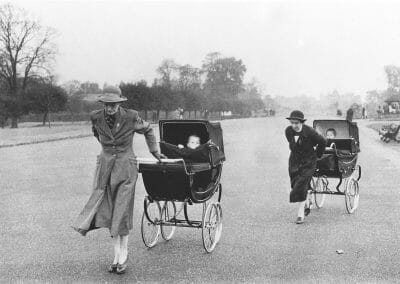 Bruce Davidson, Nannies with Baby Carriages, London, England, 1960 from the series England/Scotland, c. 1960, Gelatin silver print, 6 1/8 × 9 1/4 in (15.6 × 23.5 cm), contact gallery for price