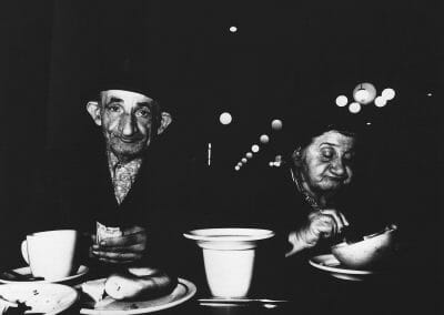 Bruce Davidson, The Cafeteria, Storekeepers from a candy store on Avenue B, c. 1973, Gelatin silver print, 7 1/8 × 7 1/8 in (18.1 × 18.1 cm), contact gallery for price
