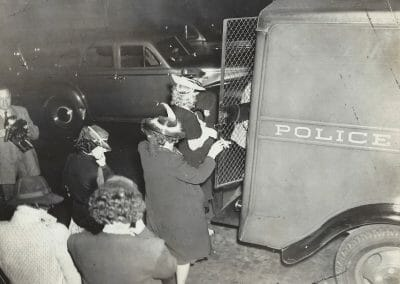 "Weegee, Girls arrested at Swifts Place ( a disorderly house), 1930, Vintage Silver Gelatin Print, 8 x 10 in., Credit photo by Weegee stamp in red ink, Please Credit Weegee from Photo-Representatives stamp in black ink, and Arthur Fellig Photo stamp in red ink on verso. Titled in blue ink, annotated circled ""5448"" and ""0)081"" in pencil on verso."
