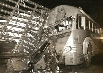 "Weegee, Bus and produce truck crash, c. 1940-49, Vintage Silver Gelatin Print, 10 5/8 x 13 1/8 in., Credit Weegee stamp in red ink and ""JB 339-1"" and ""#26752"" annotated in pencil in bottom right quadrant on verso."