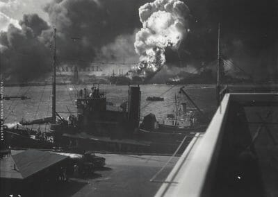 "Anonymous, U.S. Navy Photograph - Destruction of U.S.S. Shaw, Pearl Harbor, Dec 1941, Vintage silver gelatin print, 5 3/16 x 7 in., Annotated ""7-2' in white ink on recto. Title in pencil, annotated ""Vintage Contact Print PH. # 115796"" in pencil, annotated ""Buar 32587"" in blue ink on verso."