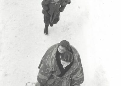 """Asano, Kiichi, Echigo-Tazawa, March 1957, From Snow Country Series, Vintage silver gelatin print, 6 10/16 x 4 1/2 in., 2 red ink stamps and 2 black pencil lines on recto. Red ink stamp, annotated """"25"""" and 4 chinese symbols in pencil on verso."""