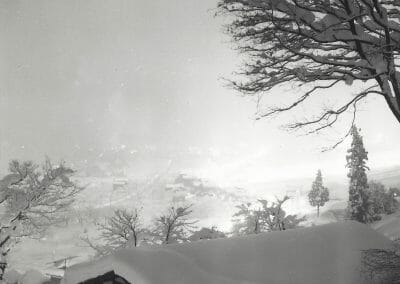 Kiichi Asano, Untitled (Snowy night scape), 1950, from Snow Country Series, Vintage silver gelatin print, 7 1/16 x 5 1/8 in., Artist's stamp in red ink on verso.