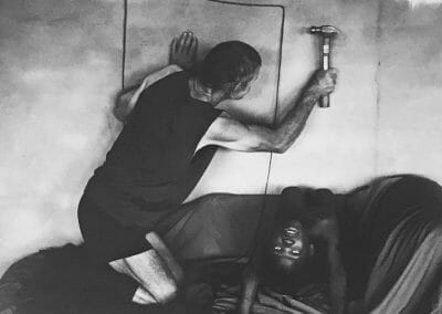 """Roger Ballen, Les Hammering Into Wall, 2000, Vintage silver gelatin print, printed in 2001, 14 4/16 x 14 4/16 in., Photographer's signature, title, date, edition, and medium in pencil, annotated """"8210-RBA"""", """"327/16"""", and """"c"""" in pencil on verso."""