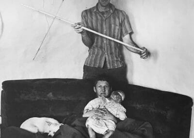 """Roger Ballen, Living Room Scene, 1999, Vintage silver gelatin print, 14 2/16 x 14 2/16 in., Photographer's signature, title, date, edition, and medium in pencil, annotated """"7172-RBA"""" and """"P258/7"""" in pencil on verso."""