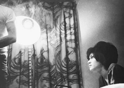 "Larry Clark, Untitled (Woman with Lamp), 1963, Silver gelatin print, printed in 1980, 8 x 12 5/16, Photographer's signature in pencil, annotated ""CLA2014SLE"", ""22"", and ""D"" in pencil on verso."