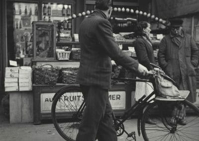 """Rosalie Gwathmey, Paris, 1950, Vintage silver gelatin print, 7 1/2 x 7 1/2 in., Photographer's signature and title in pencil, Photographer's N.Y.C. stamp, The New York Public Library stamp, The New York Public Library - Picture Collection stamp with notations in pencil, annotated """"RG67"""" in pencil on verso."""