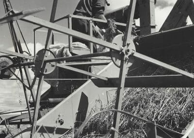 """Gordon Parks, Harvesting Grain, Augusta, Maine, August, 1944, Vintage silver gelatin print, 7 1/2 x 7 1/2 in., Paper attached stating: """"15255 - Harvesting Grain - Agriculture is becoming more mechanized yearly as the growing demand for food all over the world necessitates greater production. Oil for lubrication and fuel thus plays an important role in farming. (Photo by Parks)"""", annotated """"15255"""" in blue ink, annotated """"PF24409"""" in pencil on verso."""