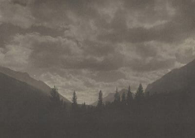 "Adam Clark Vroman, Banff, Looking South, Platinum print, 6 7/16 x 4 1/2 in., Title in black ink on recto. Annotated ""Adam Clark Vroman Platinum Print #13 Court of Steve Cohen"" on verso."