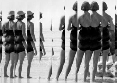 Edouard Taufenbach, Sur la plage, 2019, Collge on Canson paper, laminated on aluminum, 11 x 16 inches