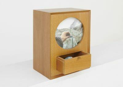 Daniela Edberg, Glacier Sample, 2018, Felted wool and archival ink print in a cedarwood box, 12 1/2 x 9 1/2 x 6 3/4 inches